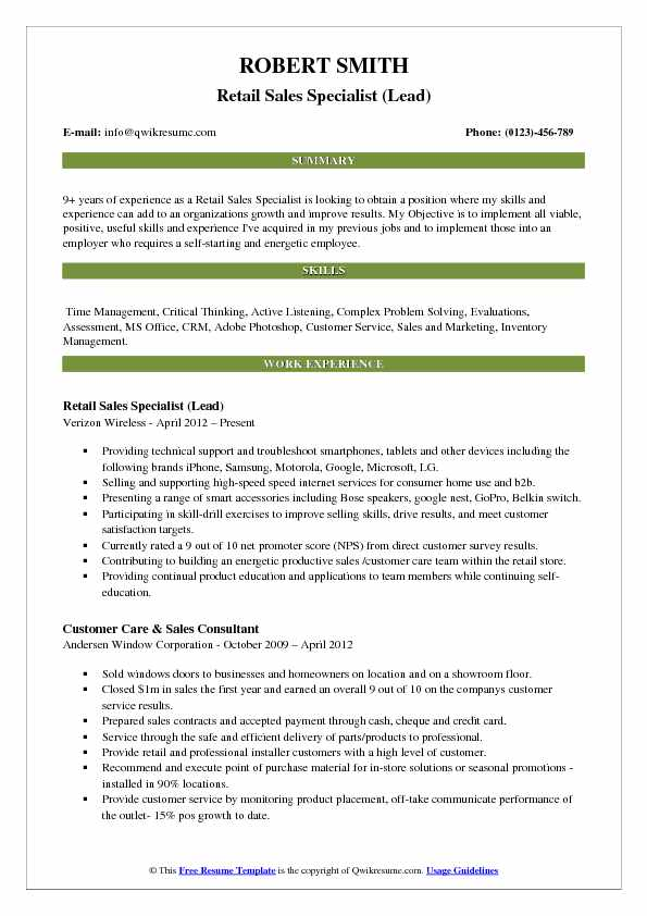 Retail Sales Specialist Resume Samples QwikResume