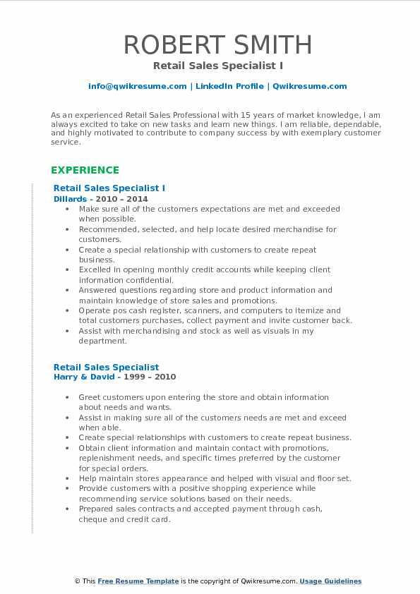 Retail Sales Specialist Resume Samples QwikResume - retail sales specialist sample resume