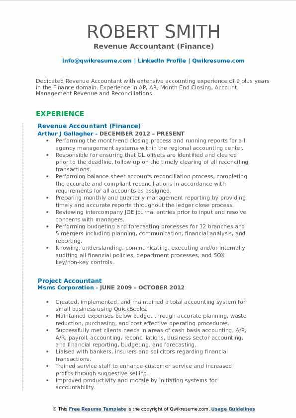 Revenue Accountant Resume Samples QwikResume