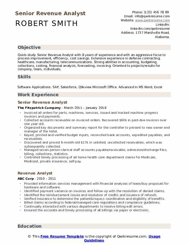 Revenue Analyst Resume Samples QwikResume