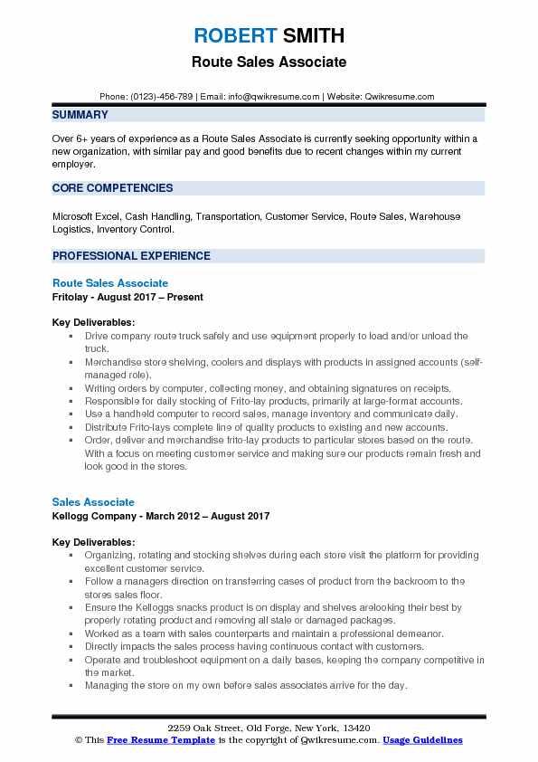 Route Sales Associate Resume Samples QwikResume - frito lay merchandiser sample resume