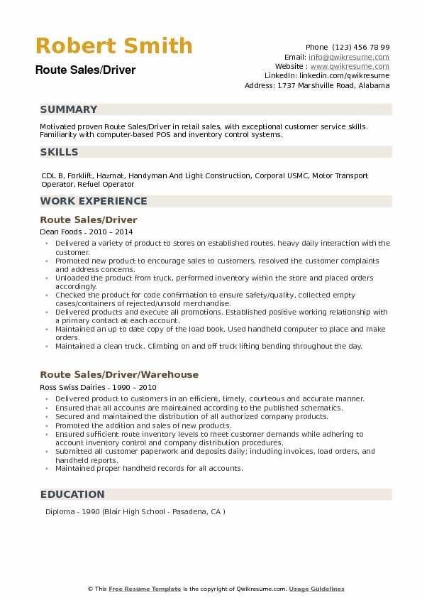 Route Sales Driver Resume Samples QwikResume