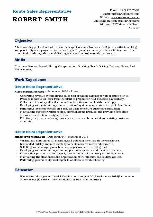 Route Sales Representative Resume Samples QwikResume