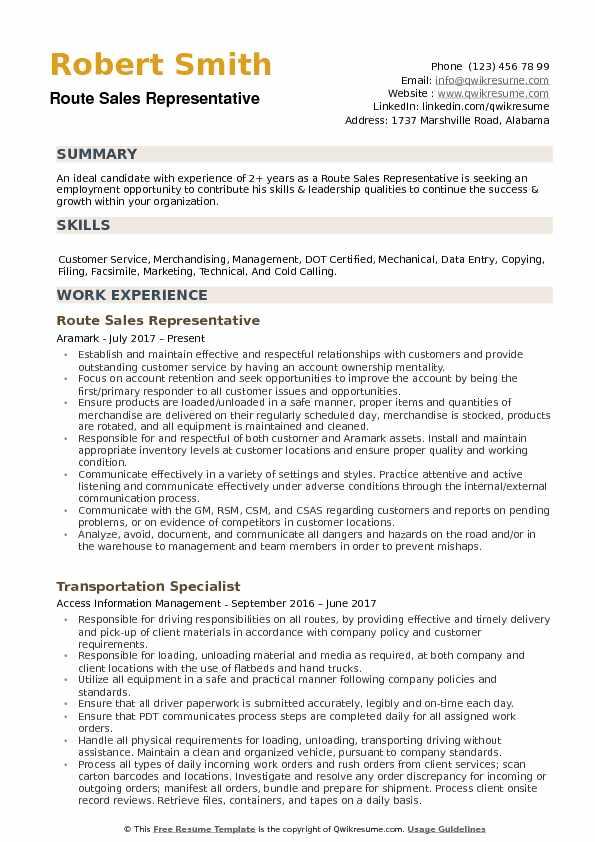 route sales representative resume samples