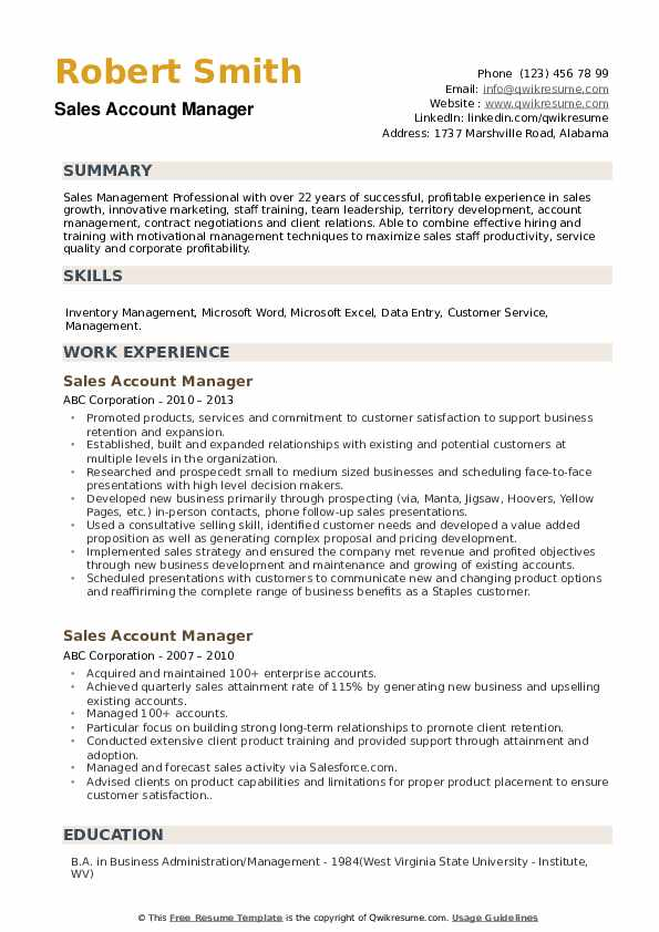 account development manager resume sample