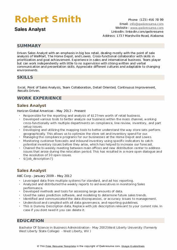Sales Analyst Resume Samples QwikResume