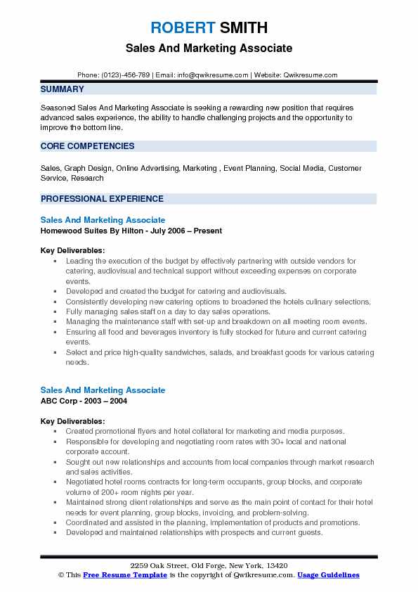 Sales and Marketing Associate Resume Samples QwikResume