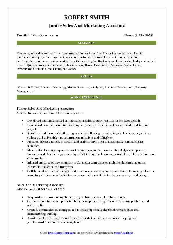 Quick Learner Resume Sales And Marketing Associate Resume Samples | Qwikresume