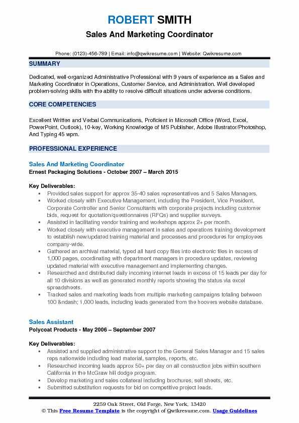 Sales and Marketing Coordinator Resume Samples QwikResume - marketing coordinator resume sample