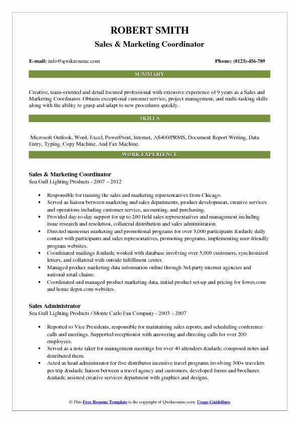 Sales and Marketing Coordinator Resume Samples QwikResume