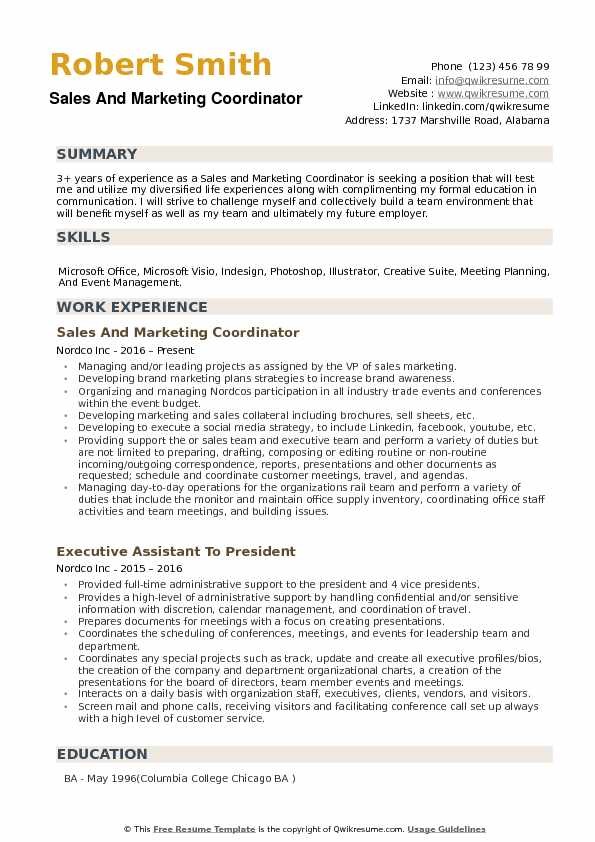 Sales and Marketing Coordinator Resume Samples QwikResume