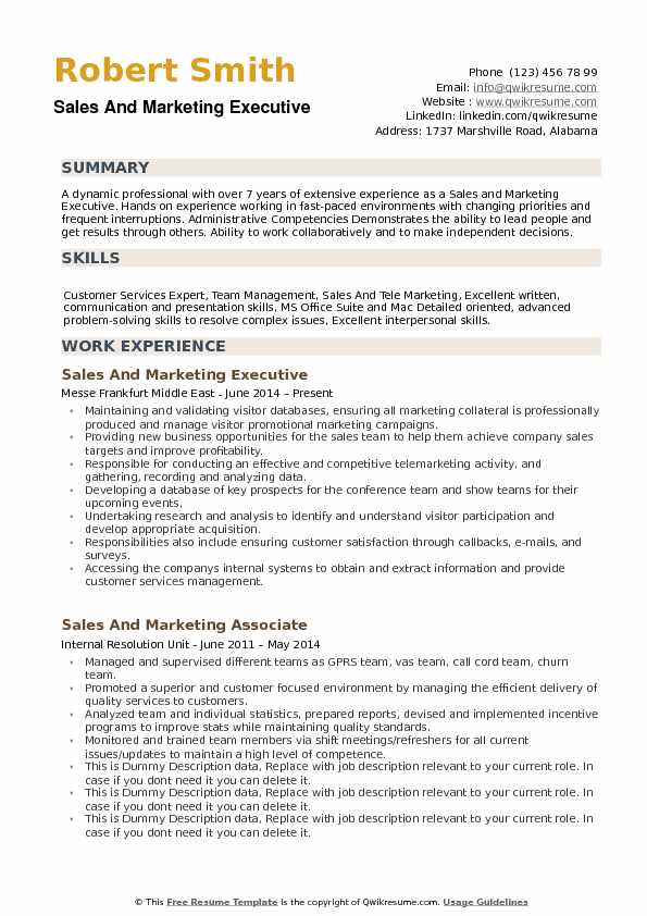 Sales and Marketing Executive Resume Samples QwikResume
