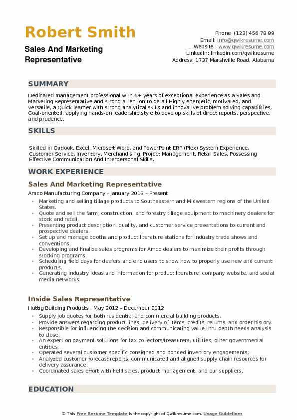 Resume For Marketing And Promotional Products Experience