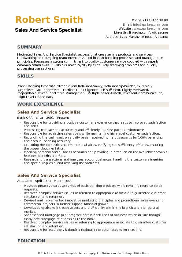 Sales and Service Specialist Resume Samples QwikResume