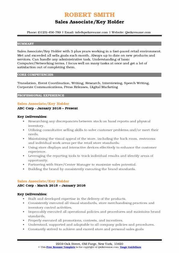 key skills for resume sales