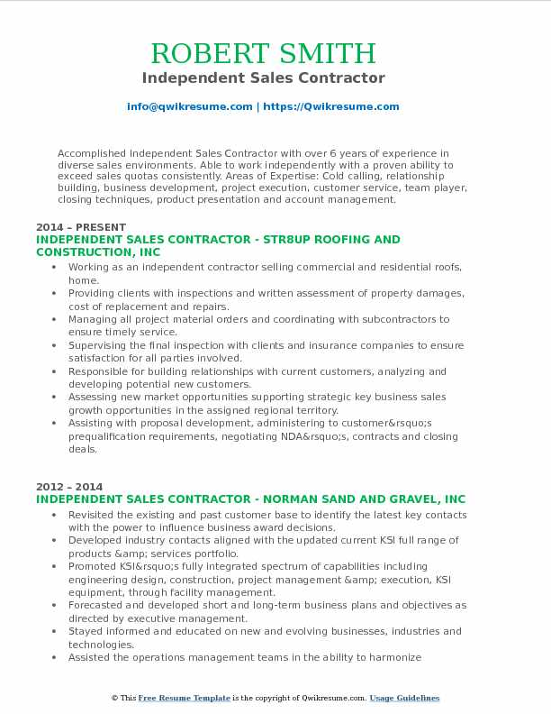 Sales Contractor Resume Samples QwikResume