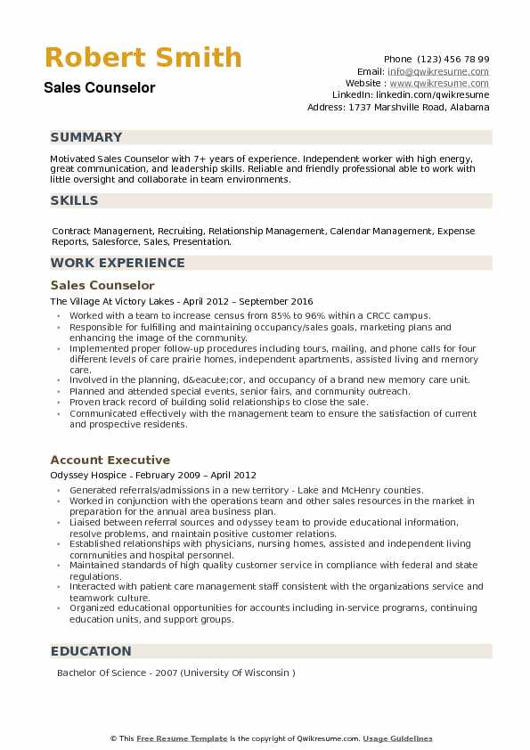 Sales Counselor Resume Samples QwikResume