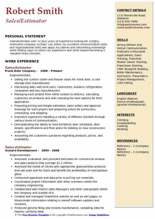 Sales Estimator Resume Samples QwikResume