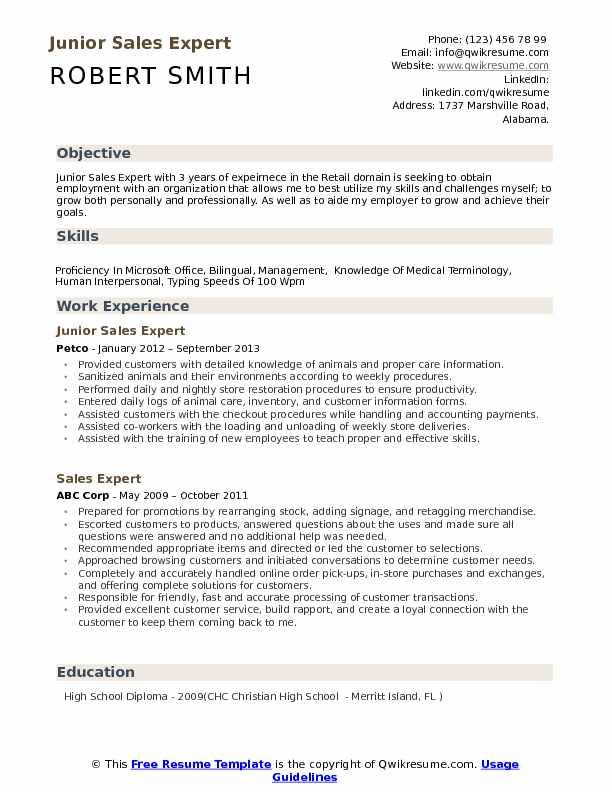 Sales Expert Resume Samples QwikResume - junior sales resume