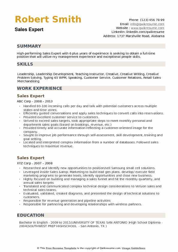 Sales Expert Resume Samples QwikResume - expert resume samples
