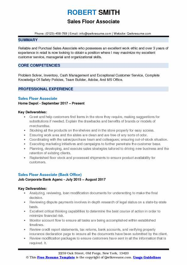 sample resume for sales associate and customer service