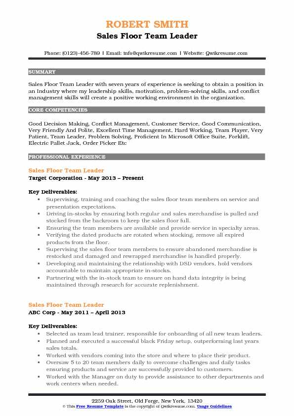 Sales Floor Team Leader Resume Samples QwikResume