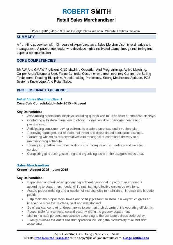 resume objective for retail merchandiser