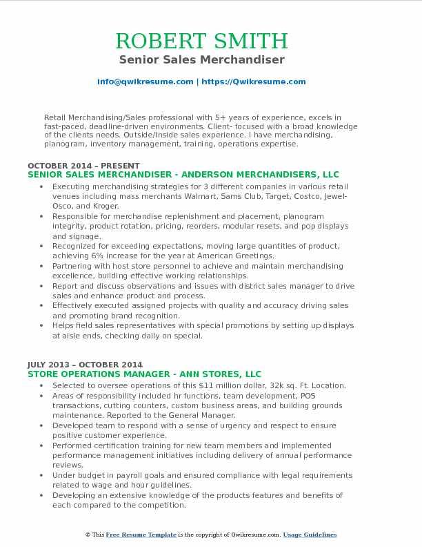 product merchandiser resume samples