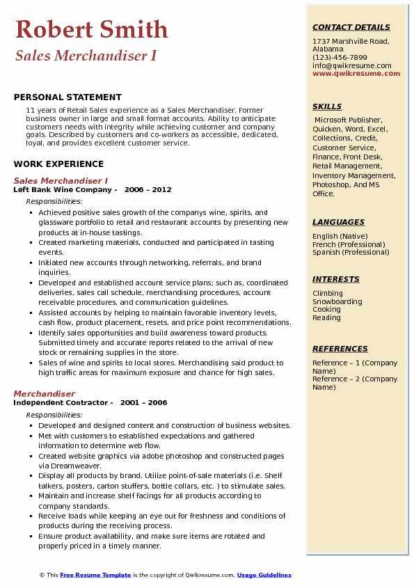 Sales Merchandiser Resume Samples QwikResume