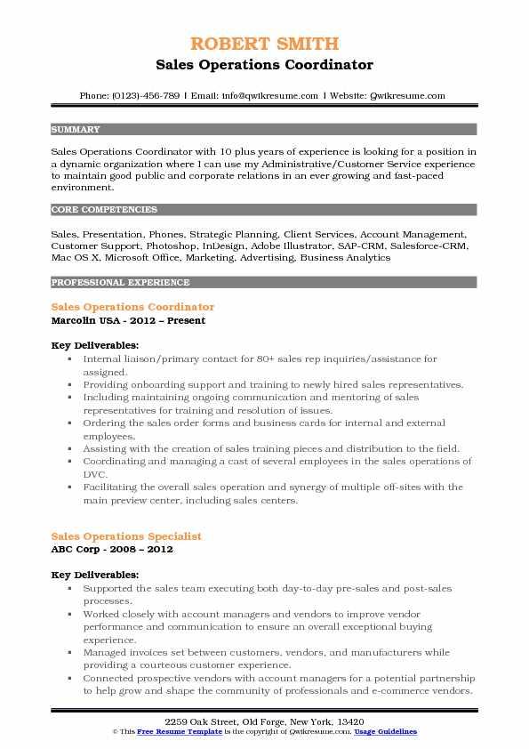 Sales Operations Coordinator Resume Samples QwikResume - operations coordinator resume