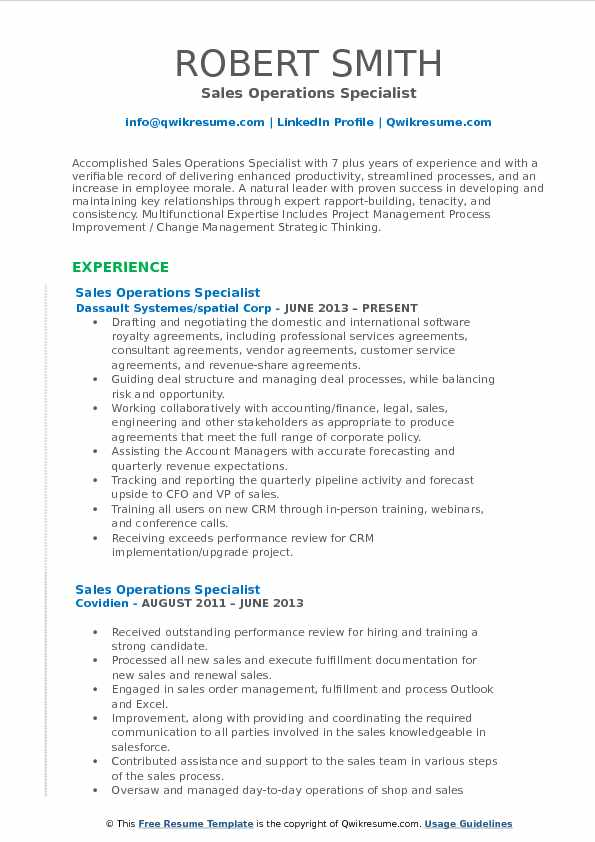 Sales Operations Specialist Resume Samples QwikResume