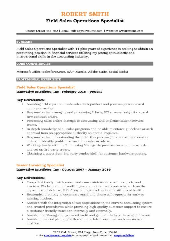 sample sales and operations manager resume