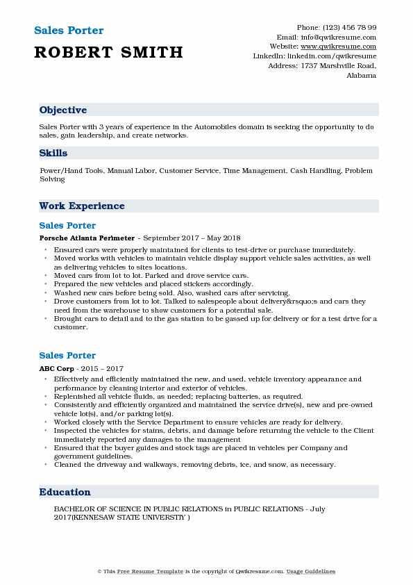 Sales Porter Resume Samples QwikResume