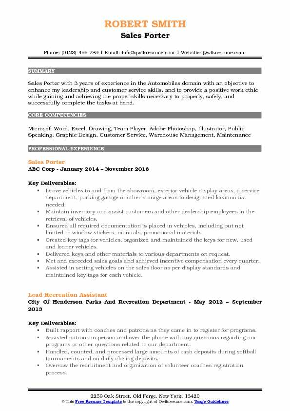 Sales Porter Resume Samples QwikResume
