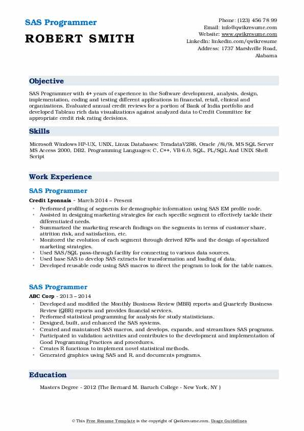 SAS Programmer Resume Samples QwikResume