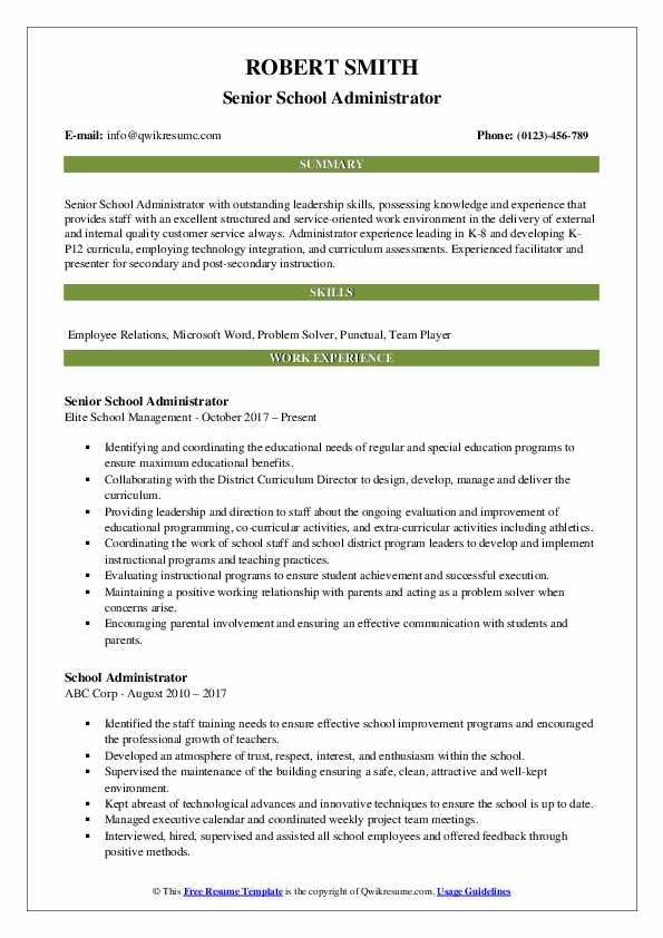 School Administrator Resume Samples QwikResume