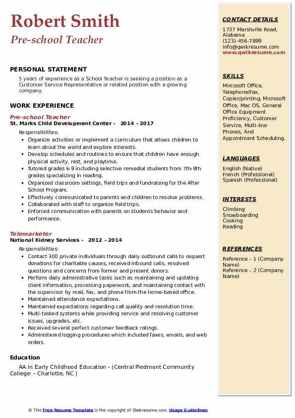 resume model for teacher pdf