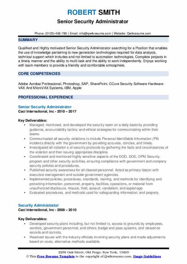 Security Administrator Resume Samples QwikResume