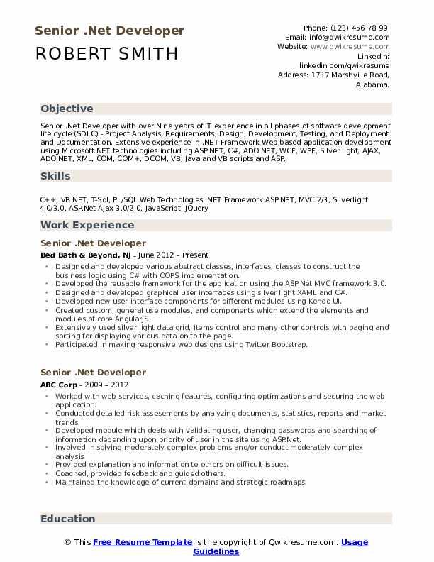 sample resume for dot net developer experience 4 years