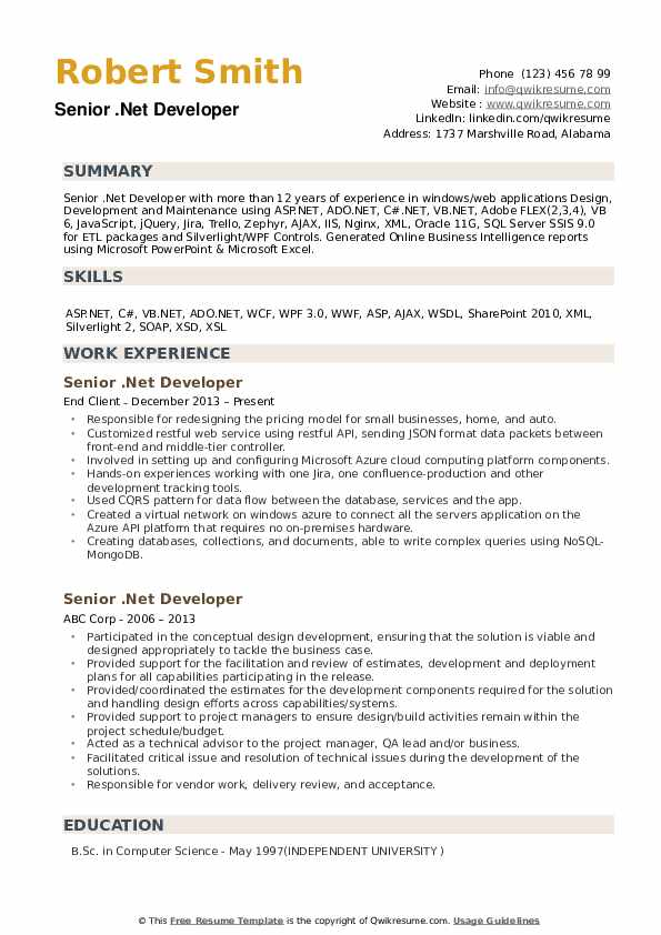 resume of 2 years experience in .net