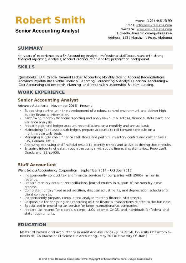 Senior Accounting Analyst Resume Samples QwikResume