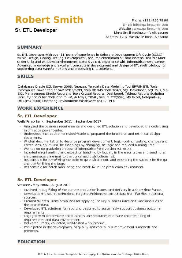 Senior ETL Developer Resume Samples QwikResume