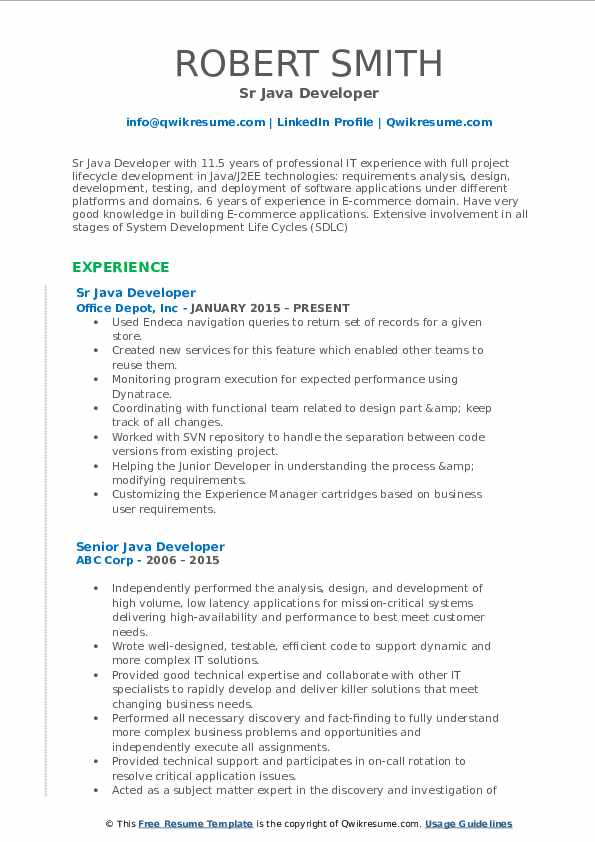 Senior Java Developer Resume Samples QwikResume