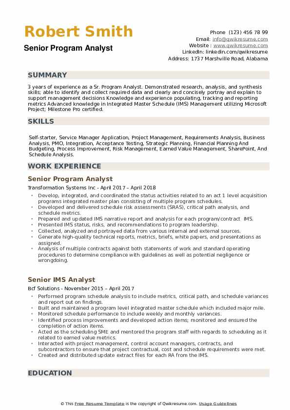 Senior Program Analyst Resume Samples QwikResume