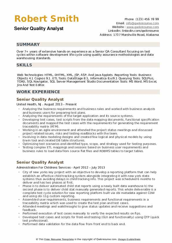 Senior Quality Analyst Resume Samples QwikResume