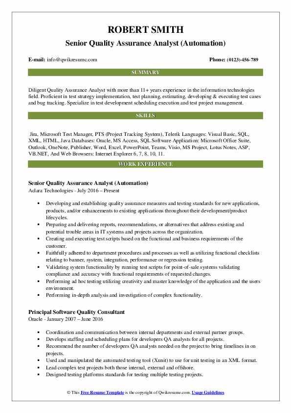 resume for quality assurance analyst