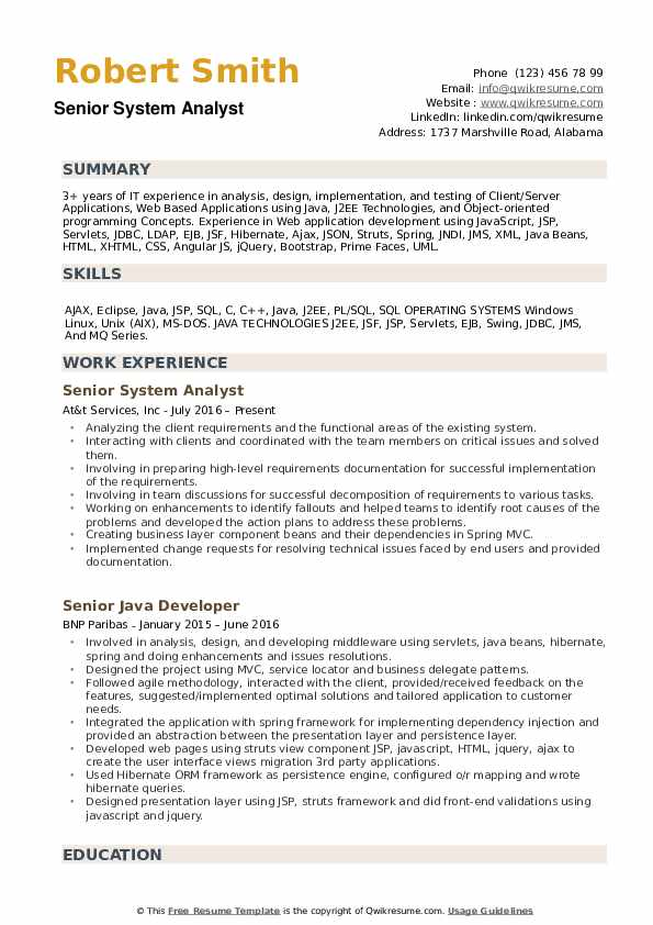 Senior System Analyst Resume Samples QwikResume
