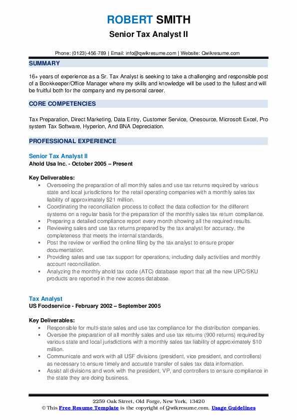 Senior Tax Analyst Resume Samples QwikResume