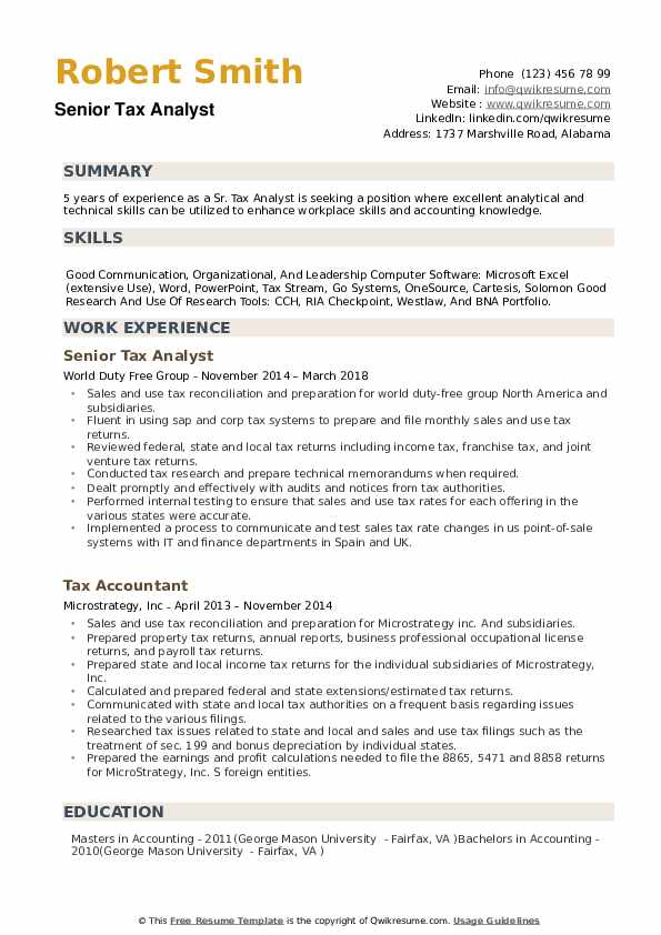 senior research analyst resume sample