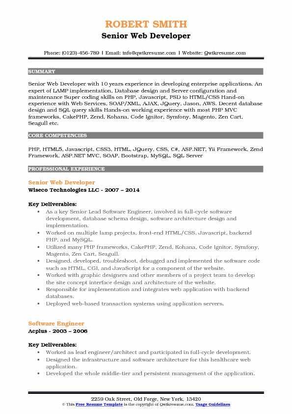 Senior Web Developer Resume Samples QwikResume